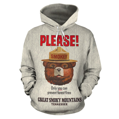 Great Smoky Mountains, Tennessee - Smokey Bear - Vintage Poster Hoodie - MRP