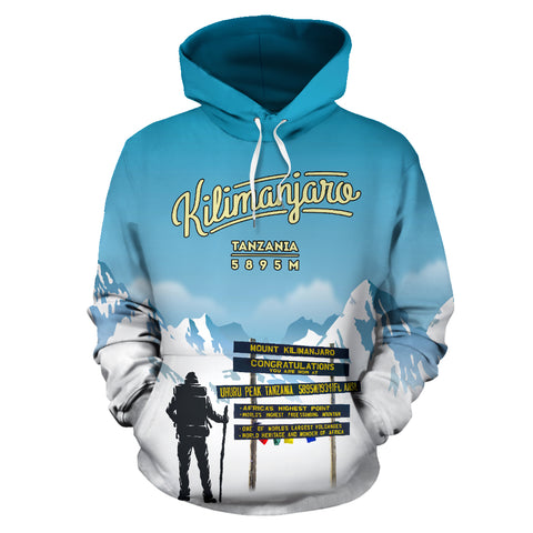 Trekking to Kilimanjaro Mountain Top All Over Print Hoodie - MRE