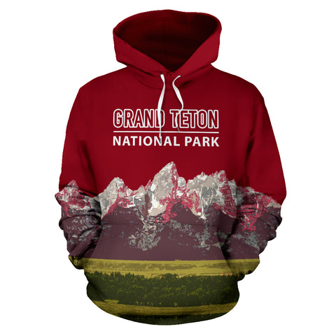Image of The Granite Peaks Of Grand Teton National Park Hoodie - Red Version - MRP