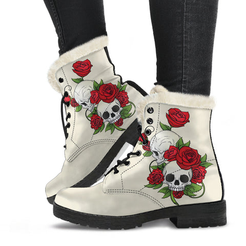 Skull Couple Roses (Sweet Corn) - Faux Fur Leather Boots - MRP