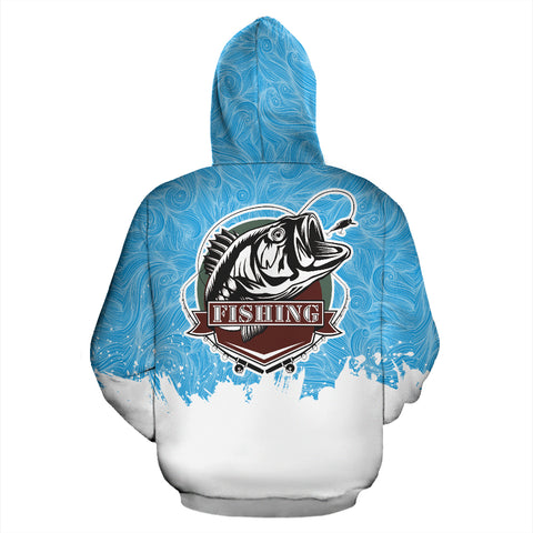 Bass Fishing Blue Pattern All Over Print Hoodie - MRE