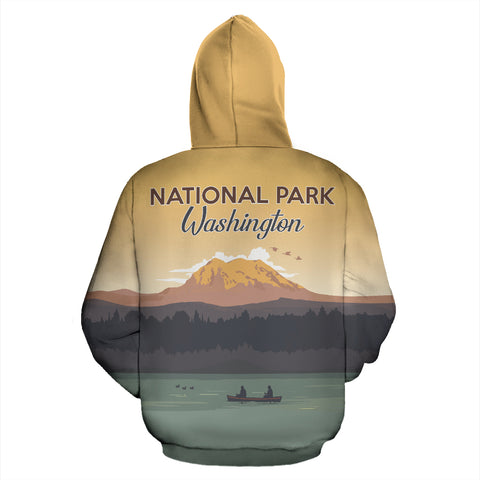 Image of Washington Rainier Mount National Park All Over Print Hoodie - MRT