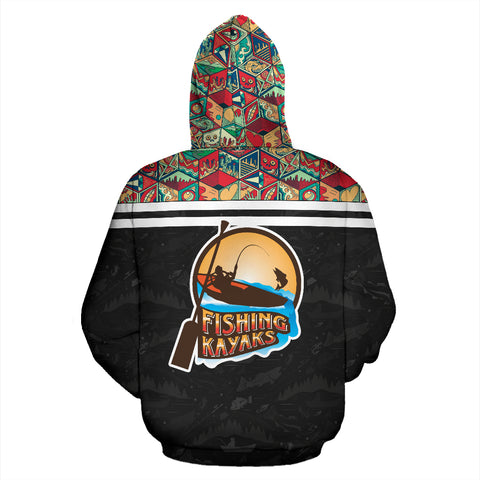 3D Kayak Fishing Black All Over Print Hoodie - MRE