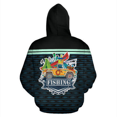 3D Bass Fishing Black All Over Print Hoodie - MRE
