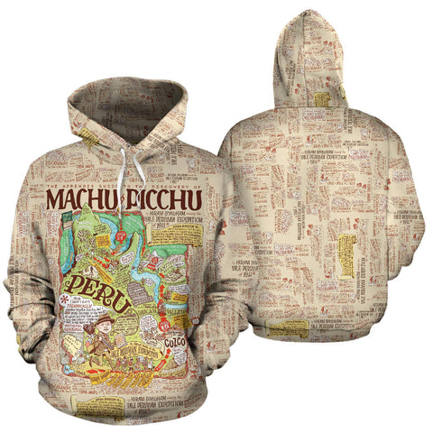 Machu Picchu Map All Over Print Hoodie - MRE