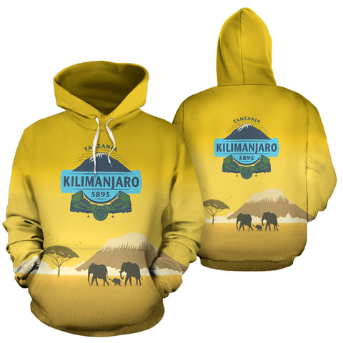 Image of Tanzania Kilimanjaro Mountain All Over Print Hoodie - MRE