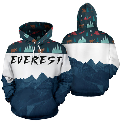 Everest Mountain All Over Print Hoodie - Mountain Roar All Over Print Hoodie MRE