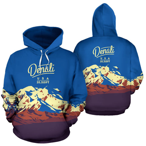 Image of Denali Mountain All Over Print Hoodie - MRE