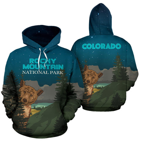 Image of Bear at Night Rocky Mountain  All Over Print Hoodie - MRE