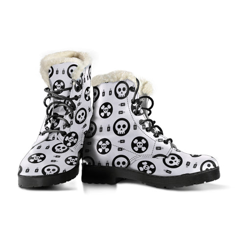 Skulls and Potion Faux Fur Leather Boots - MRP