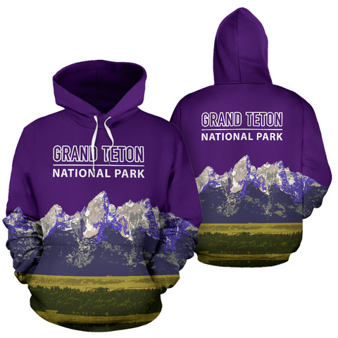 Image of The Granite Peaks Of Grand Teton National Park Hoodie - Purple Version - MRP