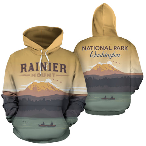 Washington Rainier Mount National Park All Over Print Hoodie - MRT