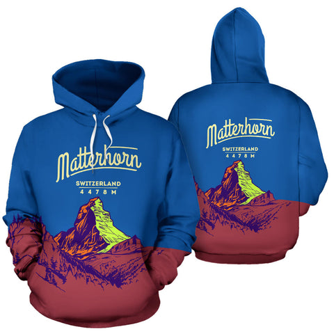 Image of Zermatt Matterhorn Mountain All Over Print Hoodie - MRE