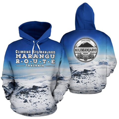 Marangu Route Kilimanjaro Mountain All Over Print Hoodie - MRE