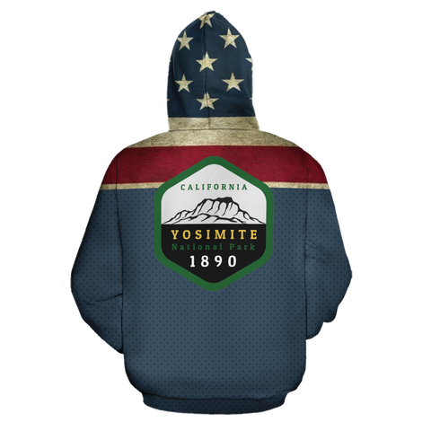 Mountain Roar All Over Hoodie with Yosemite National Park design back