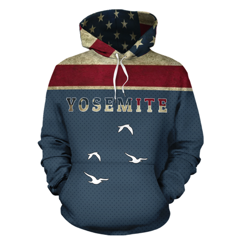 Mountain Roar All Over Hoodie with Yosemite National Park design front