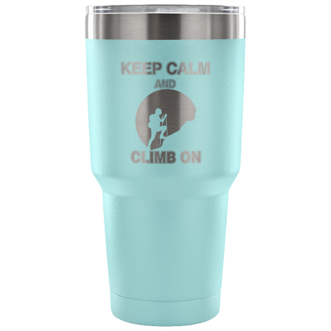 Image of Mountain Roar Vacuum Insulated Tumblers 30 OZ Keep Calm And Climb On 01 light blue