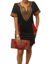 Load image into Gallery viewer, Blackred Dashiki Dress
