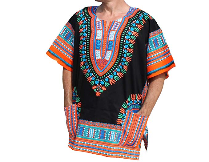 Multi Black / Orange Dashiki Shirt