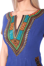 Load image into Gallery viewer, Blue Dashiki Dress