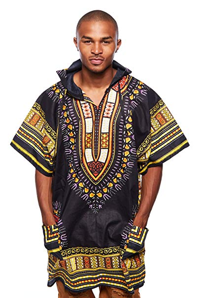 Black/yellow Dashiki Hoodie