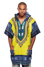 Load image into Gallery viewer, Yellow/Blue Dashiki Hoodie