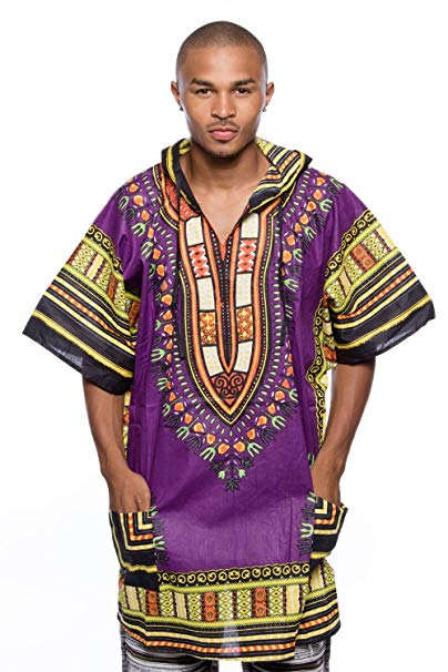 Purple/Back Dashiki Hoodie