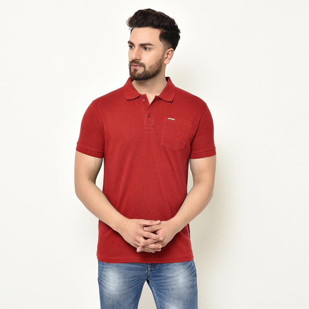 Eazy Men's Pocket Polo T-shirt ( Pack of 2) - Bright Red & Caviar Black