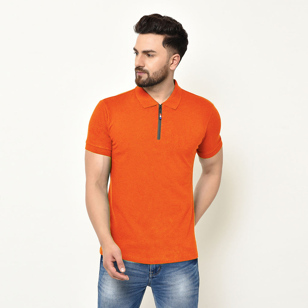 Eazy Men's Zipper Polo T-shirt ( Pack of 2) - Papaya Orange & Grindle Maroon