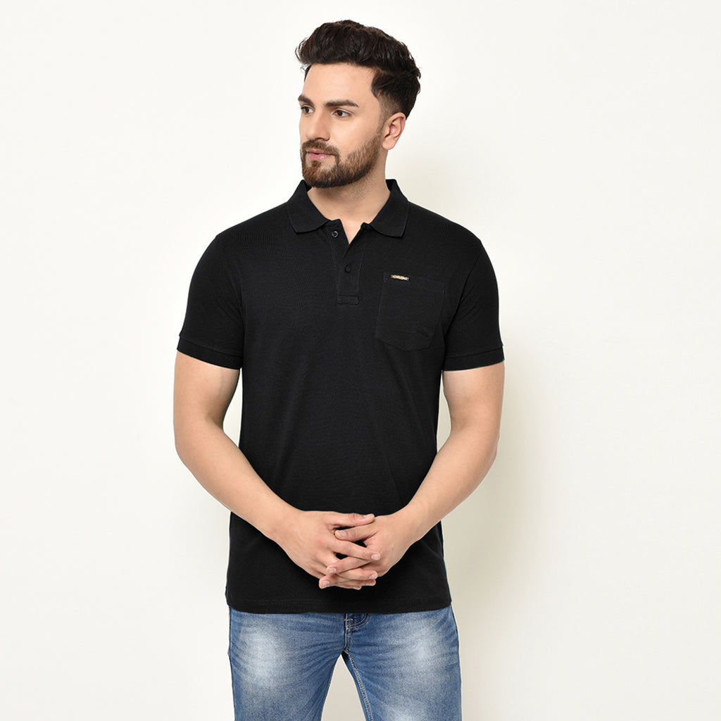 Eazy Men's Pocket Polo T-shirt ( Pack of 2) - Caviar Black & Vibrant Mustard
