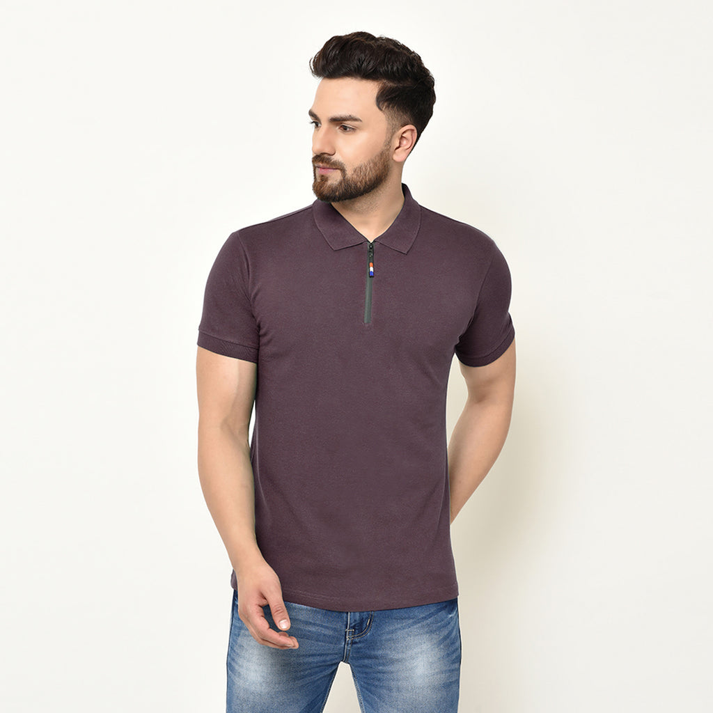 Eazy Men's Zipper Polo T-shirt ( Pack of 2) - Grindle Maroon & Grindle Black