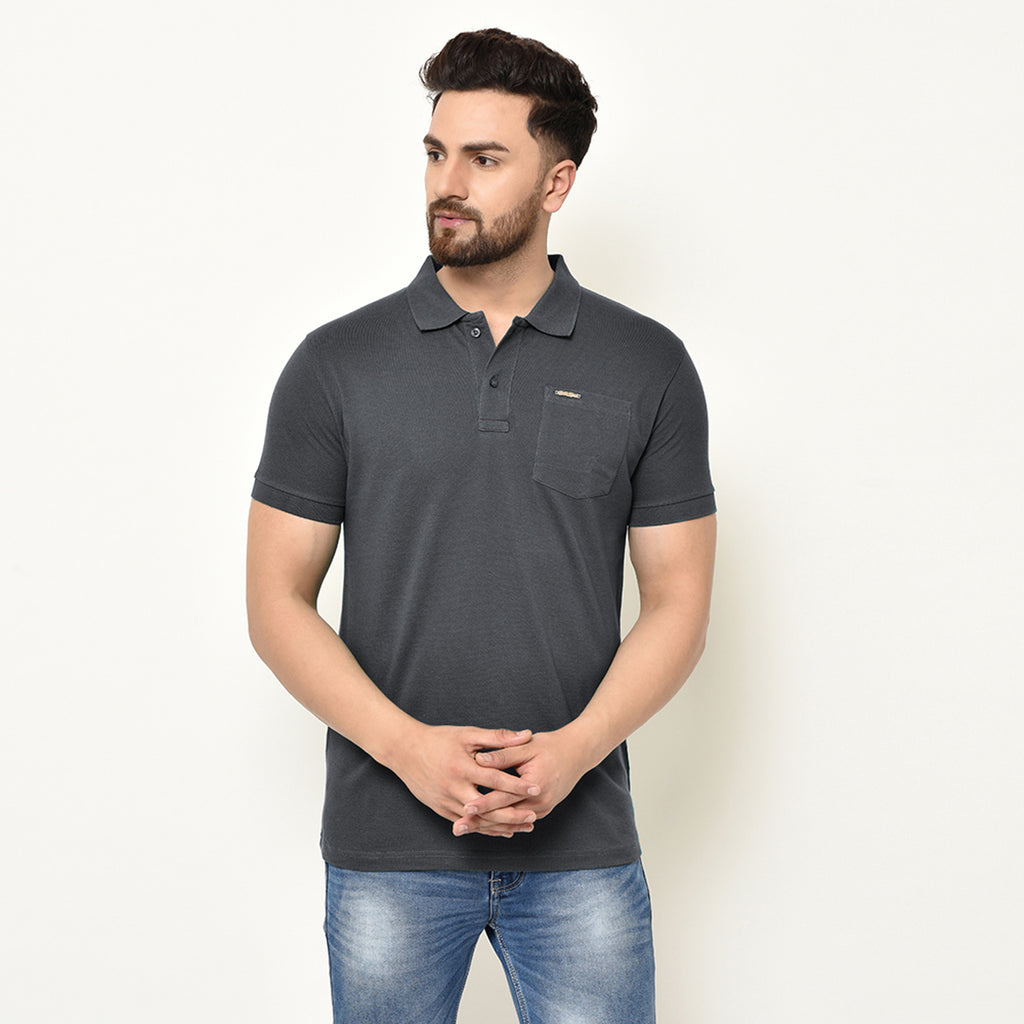 Eazy Men's Pocket Polo T-shirt ( Pack of 2) - Grindle Black & Papaya Orange