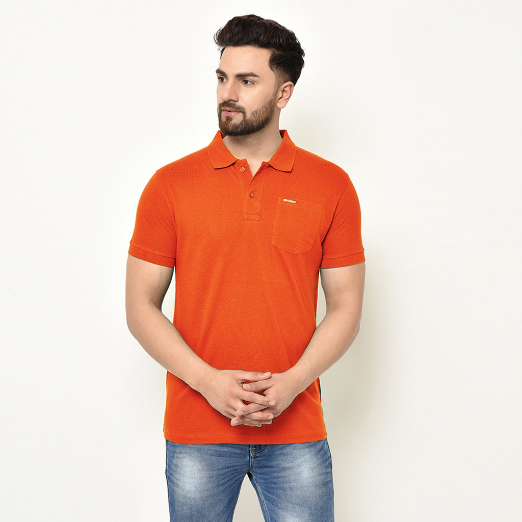 Eazy Men's Pocket Polo T-shirt ( Pack of 2) - Papaya Orange & Bright Red