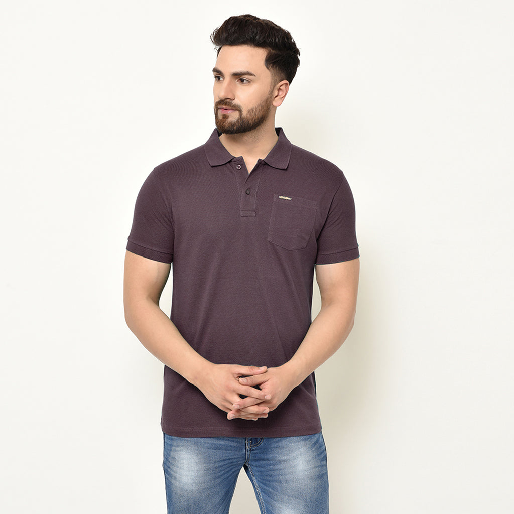 Eazy Men's Pocket Polo T-shirt ( Pack of 2) - Grindle Maroon & Ocean Blue