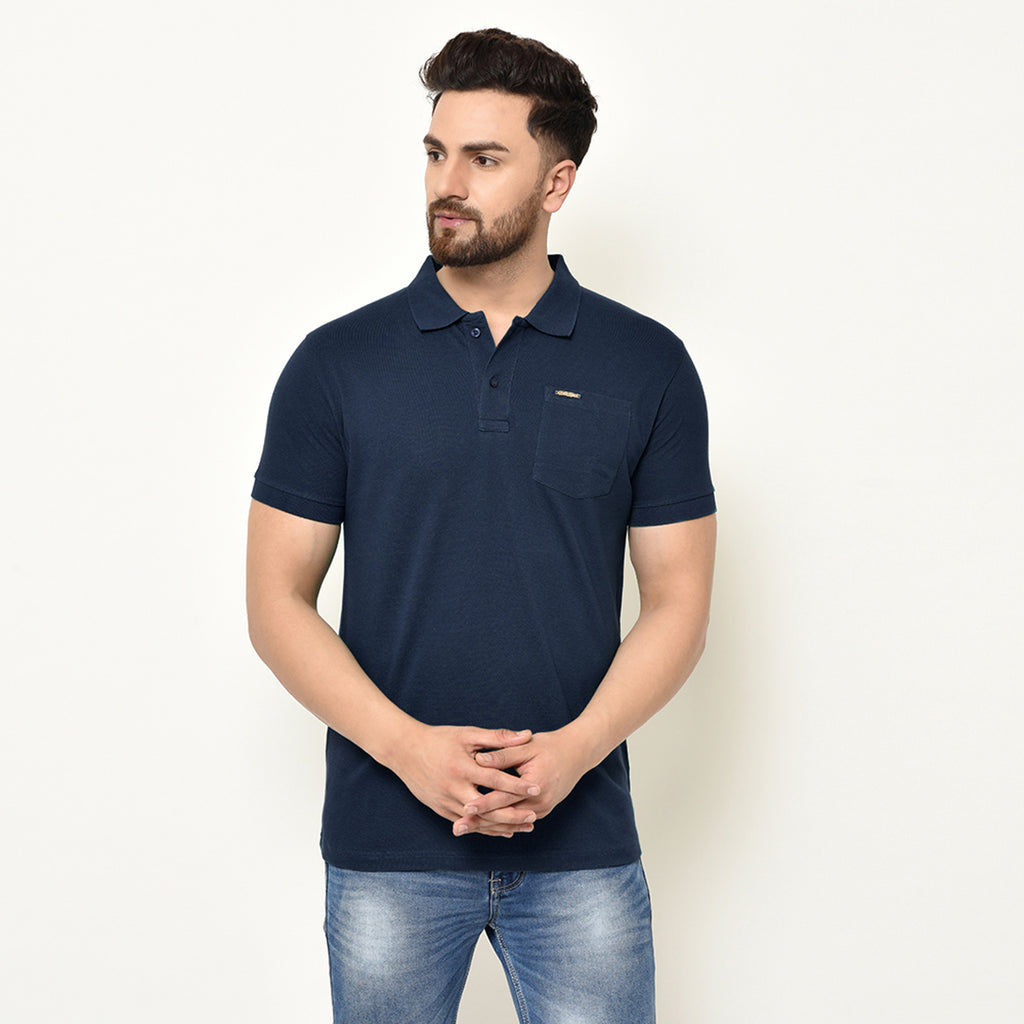 Eazy Men's Pocket Polo T-shirt ( Pack of 2) - Young Navy & Pepper Green