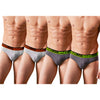 Sirtex Eazy Racer Plain Brief (Pack of 4) : Light Grey Melange & Dark Grey Melange