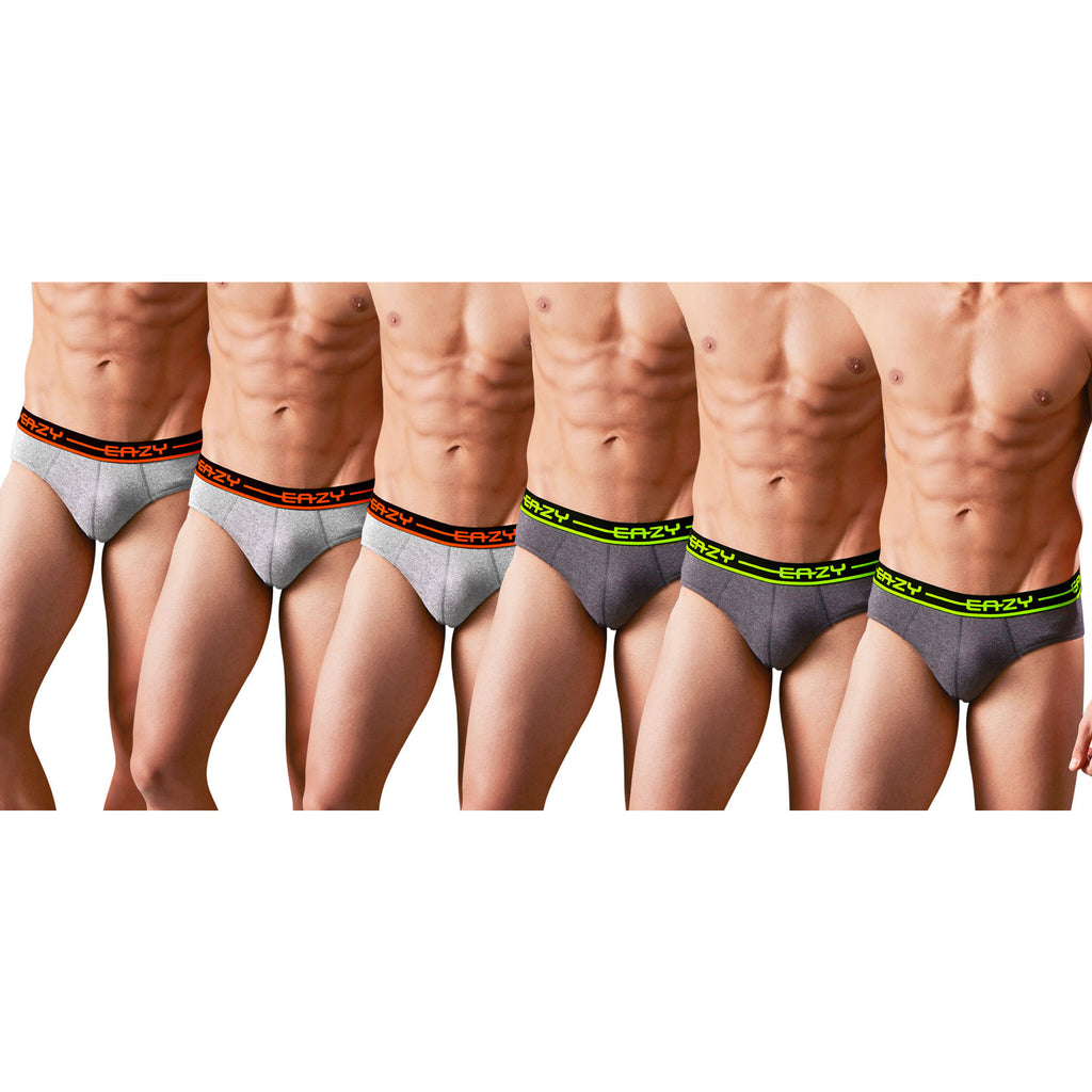 Sirtex Eazy Racer Plain Brief (Pack of 6) : Light Grey Melange & Dark Grey Melange