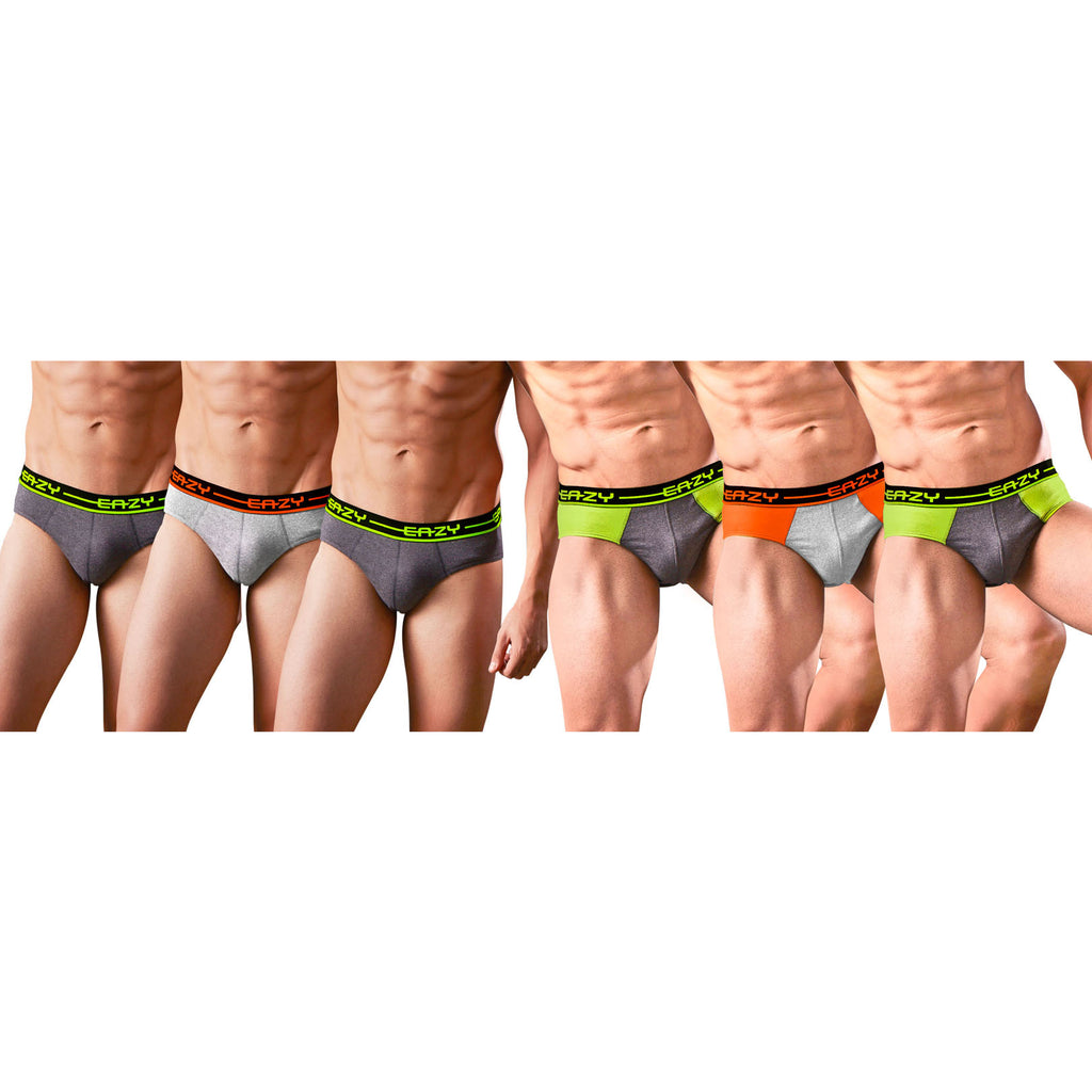 Sirtex Eazy Racer Plain & Duos Brief (Pack of 6) : Light Grey Melange & Dark Grey Melange