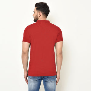 Eazy Men's Pocket Polo T-shirt ( Pack of 2) - Bright Red & Grindle Maroon
