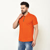 Eazy Men's Zipper Polo T-shirt ( Pack of 2) - Papaya Orange & Grindle Black