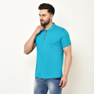 Eazy Men's Zipper Polo T-shirt ( Pack of 2) - Ocean Blue & Papaya Orange