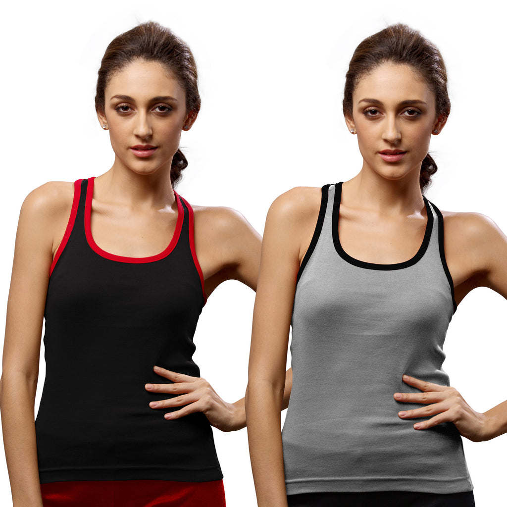 Sirtex Eazy Gym Vest for Women (Pack of 2) Black & Grey Melange - WGV-5002