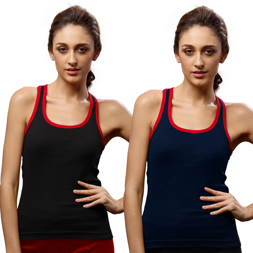 Sirtex Eazy Gym Vest for Women (Pack of 2) Black & Navy Blue - WGV-5002
