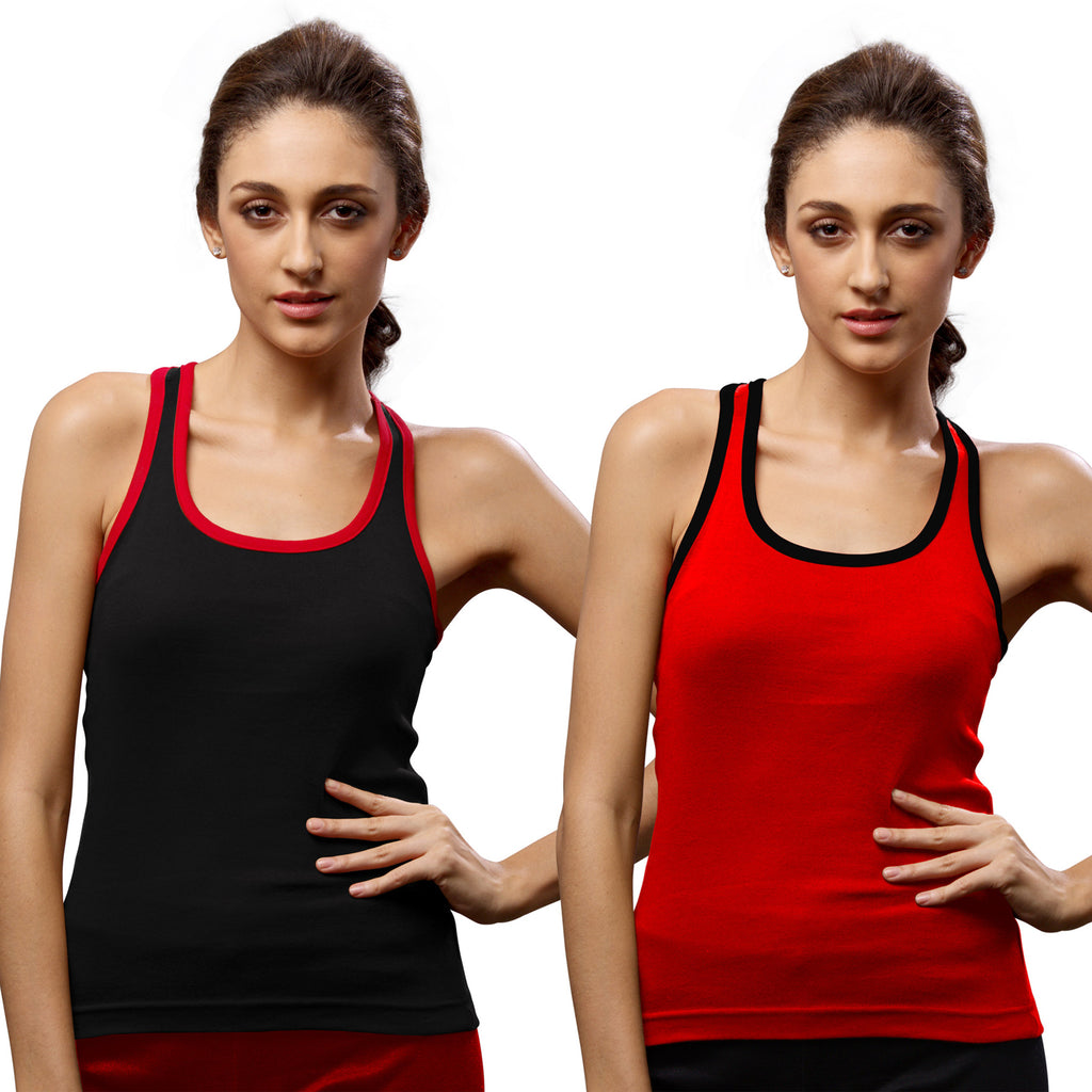 Sirtex Eazy Gym Vest for Women (Pack of 2) Black & Red - WGV-5002
