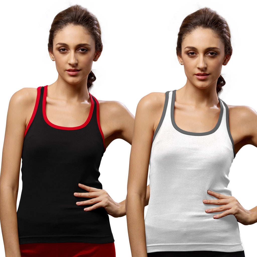 Sirtex Eazy Gym Vest for Women (Pack of 2) Black & White - WGV-5002