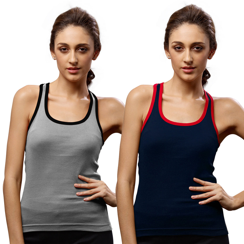 Sirtex Eazy Gym Vest for Women (Pack of 2) Grey Melange & Navy Blue - WGV-5002