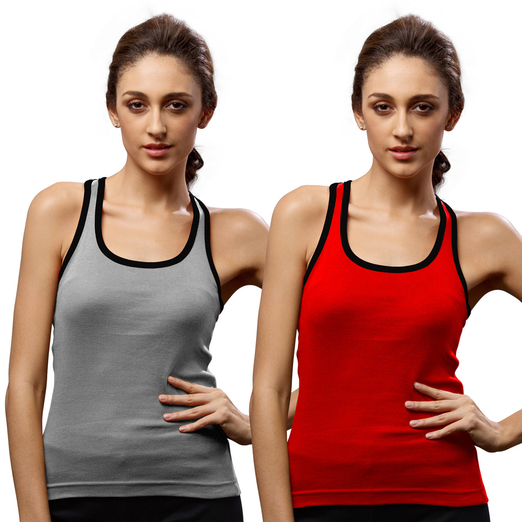 Sirtex Eazy Gym Vest for Women (Pack of 2) Grey Melange & Red - WGV-5002
