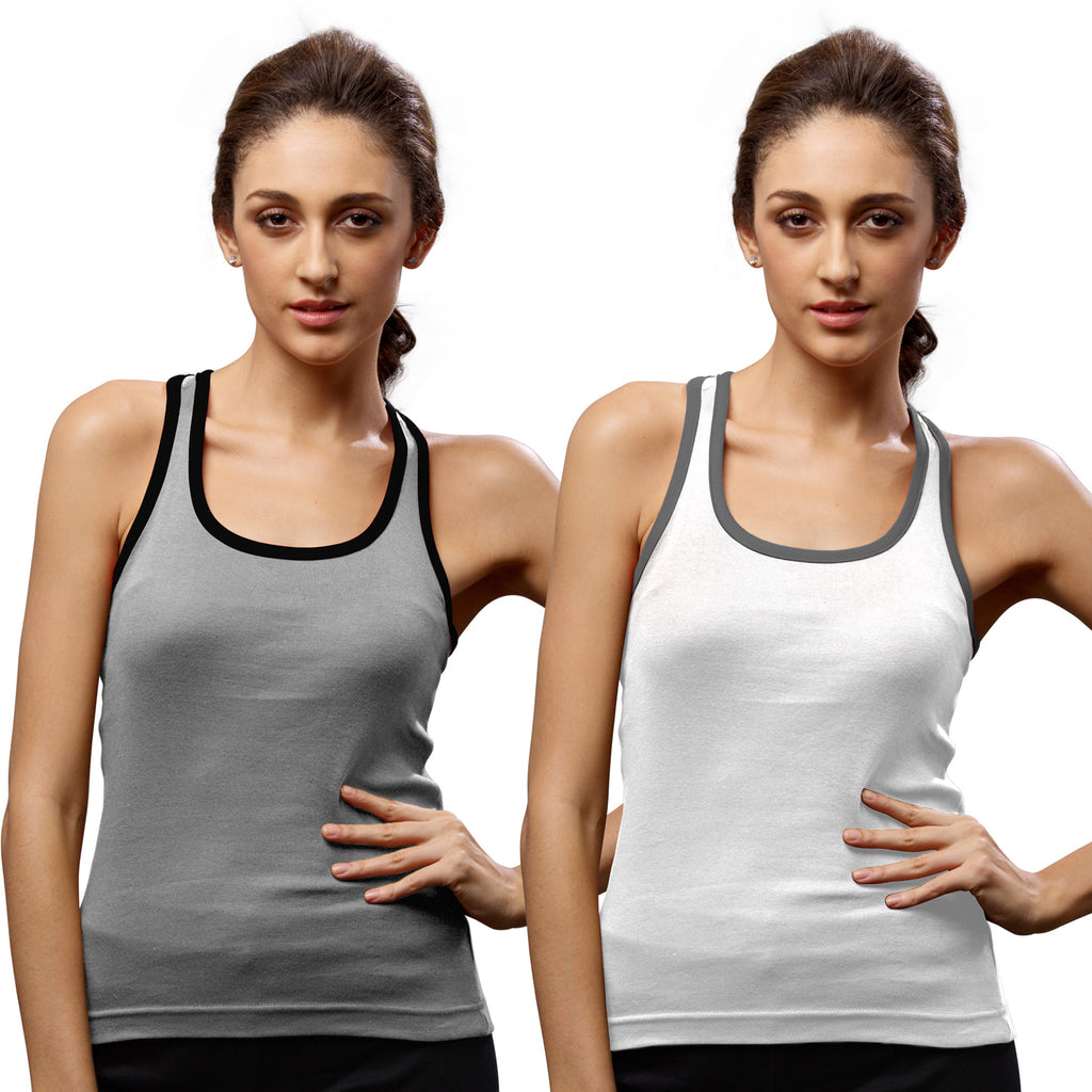 Sirtex Eazy Gym Vest for Women (Pack of 2) Grey Melange & White - WGV-5002