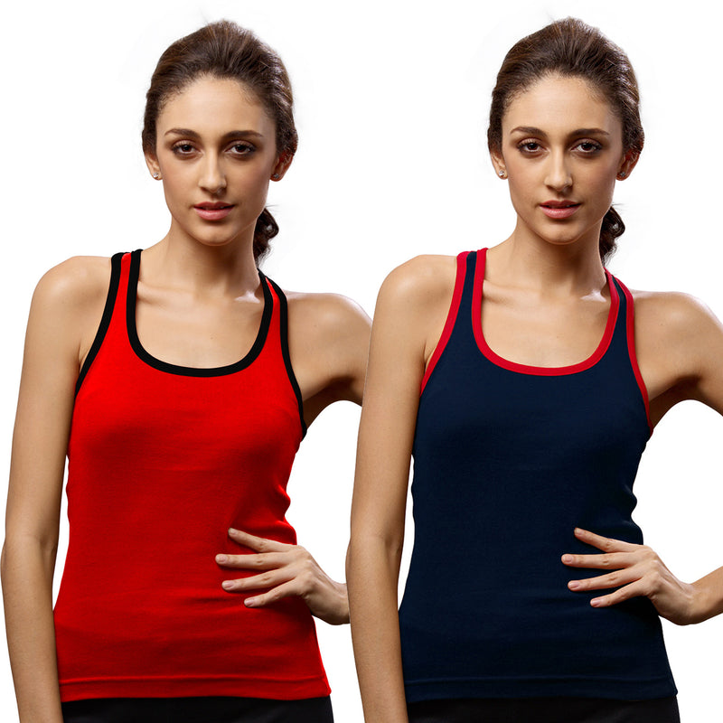 Sirtex Eazy Gym Vest for Women (Pack of 2) Red & Navy Blue - WGV-5002