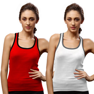 Sirtex Eazy Gym Vest for Women (Pack of 2) Red & White - WGV-5002